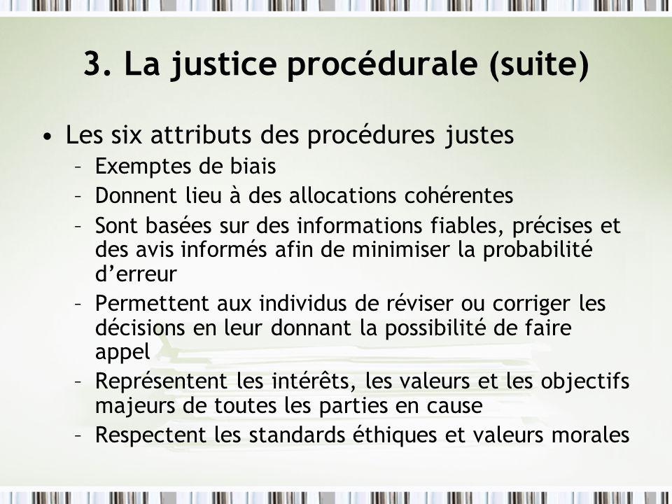 3. La justice procédurale (suite) Les six attributs des procédures justes –Exemptes de biais –Donnent lieu à des allocations cohérentes –Sont basées s