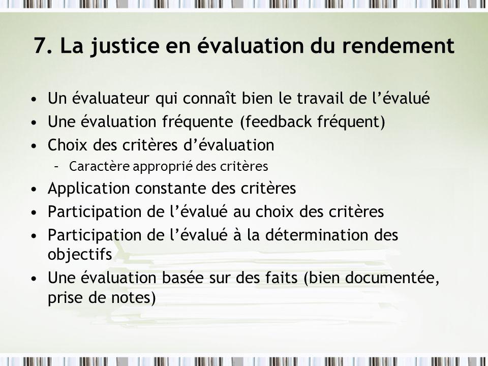 7. La justice en évaluation du rendement Un évaluateur qui connaît bien le travail de lévalué Une évaluation fréquente (feedback fréquent) Choix des c