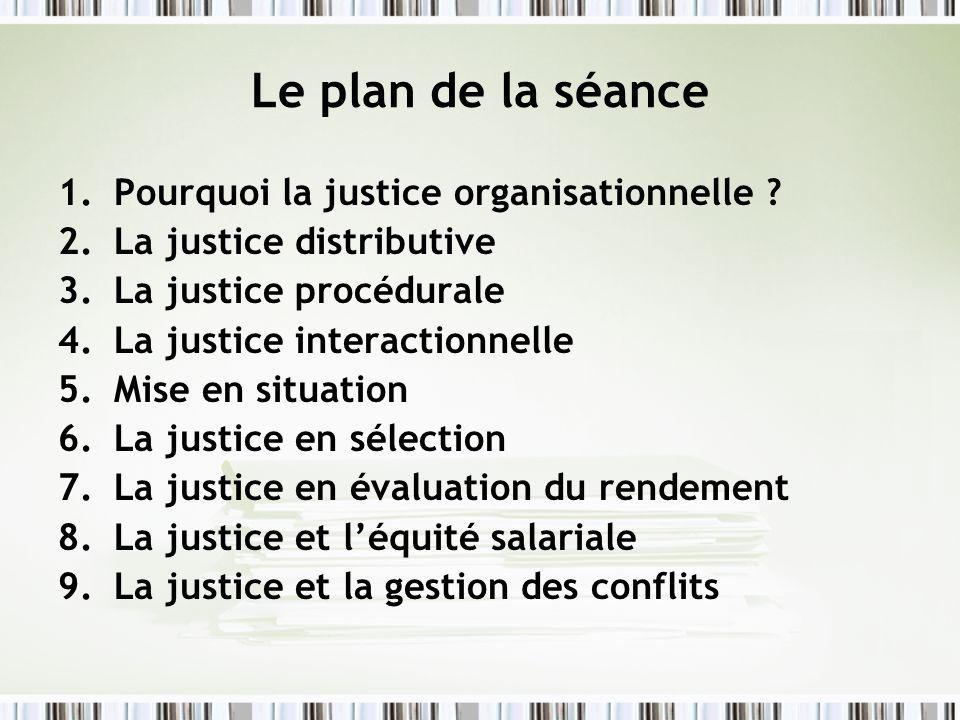Le plan de la séance 1.Pourquoi la justice organisationnelle ? 2.La justice distributive 3.La justice procédurale 4.La justice interactionnelle 5.Mise