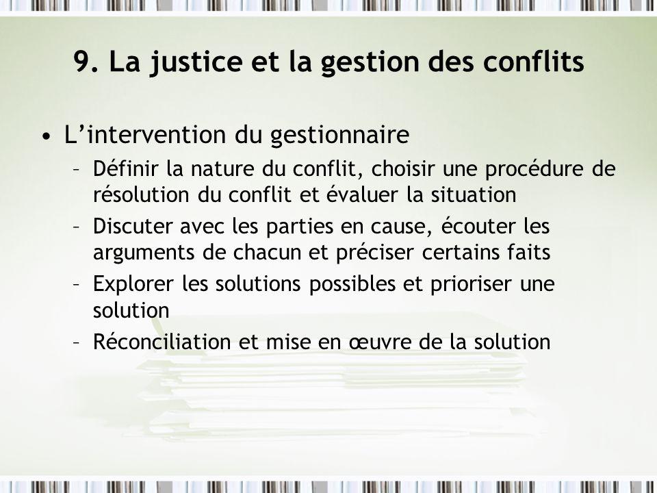 9. La justice et la gestion des conflits Lintervention du gestionnaire –Définir la nature du conflit, choisir une procédure de résolution du conflit e