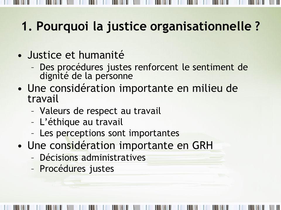 1. Pourquoi la justice organisationnelle ? Justice et humanité –Des procédures justes renforcent le sentiment de dignité de la personne Une considérat