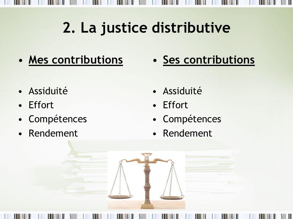 2. La justice distributive Mes contributions Assiduité Effort Compétences Rendement Ses contributions Assiduité Effort Compétences Rendement