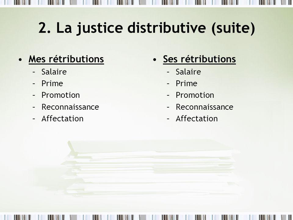 2. La justice distributive (suite) Mes rétributions –Salaire –Prime –Promotion –Reconnaissance –Affectation Ses rétributions –Salaire –Prime –Promotio