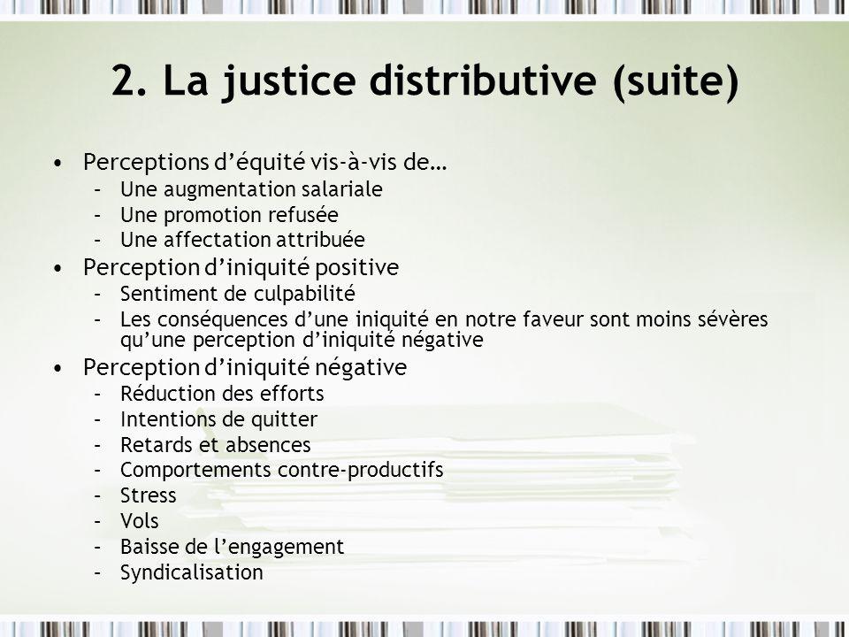 2. La justice distributive (suite) Perceptions déquité vis-à-vis de… –Une augmentation salariale –Une promotion refusée –Une affectation attribuée Per