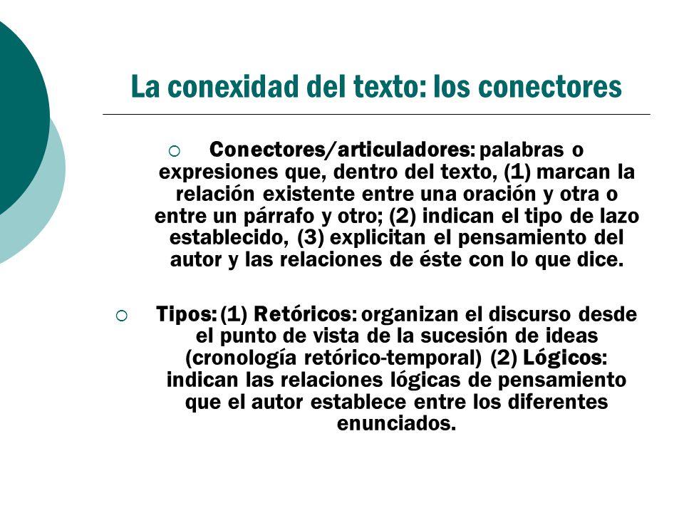 La conexidad del texto: los conectores Conectores/articuladores: palabras o expresiones que, dentro del texto, (1) marcan la relación existente entre
