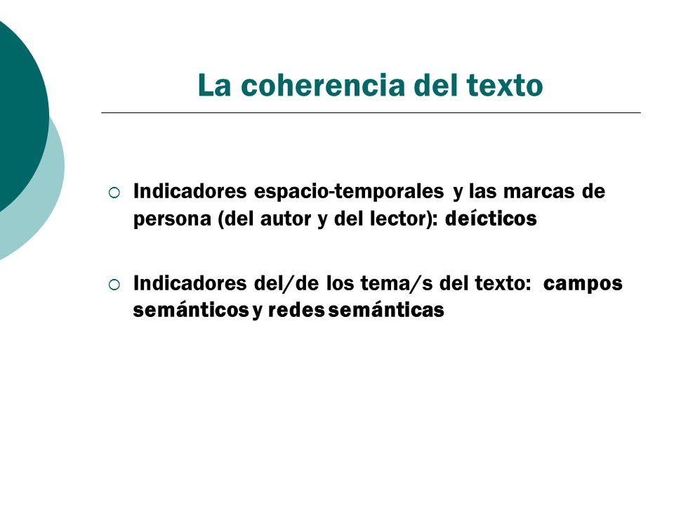 La coherencia del texto Indicadores espacio-temporales y las marcas de persona (del autor y del lector): deícticos Indicadores del/de los tema/s del t