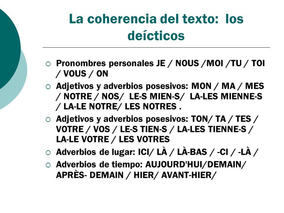 La coherencia del texto: los deícticos Pronombres personales JE / NOUS /MOI /TU / TOI / VOUS / ON Adjetivos y adverbios posesivos: MON / MA / MES / NO