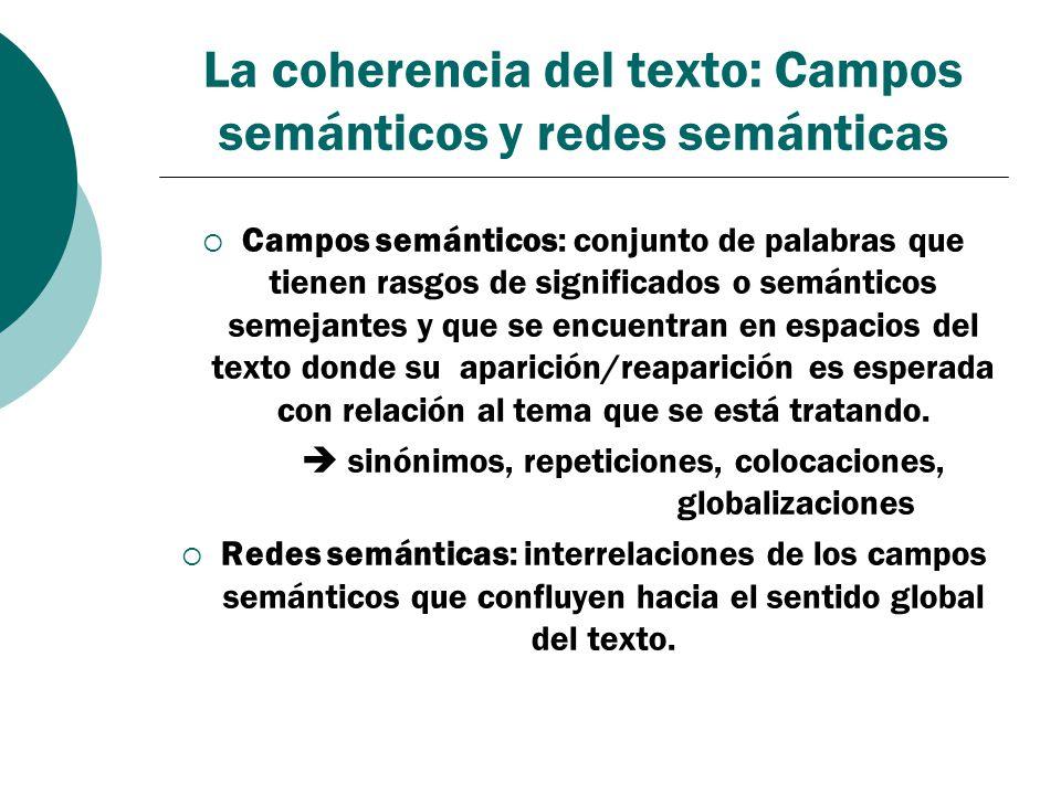 La coherencia del texto: Campos semánticos y redes semánticas Campos semánticos: conjunto de palabras que tienen rasgos de significados o semánticos s