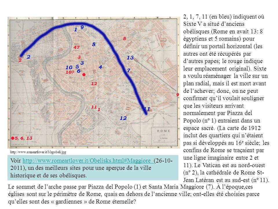 http://www.romeartlover.it/Mapobeli.jpg 2, 1, 7, 11 (en bleu) indiquent où Sixte V a situé danciens obélisques (Rome en avait 13: 8 égyptiens et 5 romains) pour définir un portail horizontal (les autres ont été récupérés par dautres papes; le rouge indique leur emplacement original).
