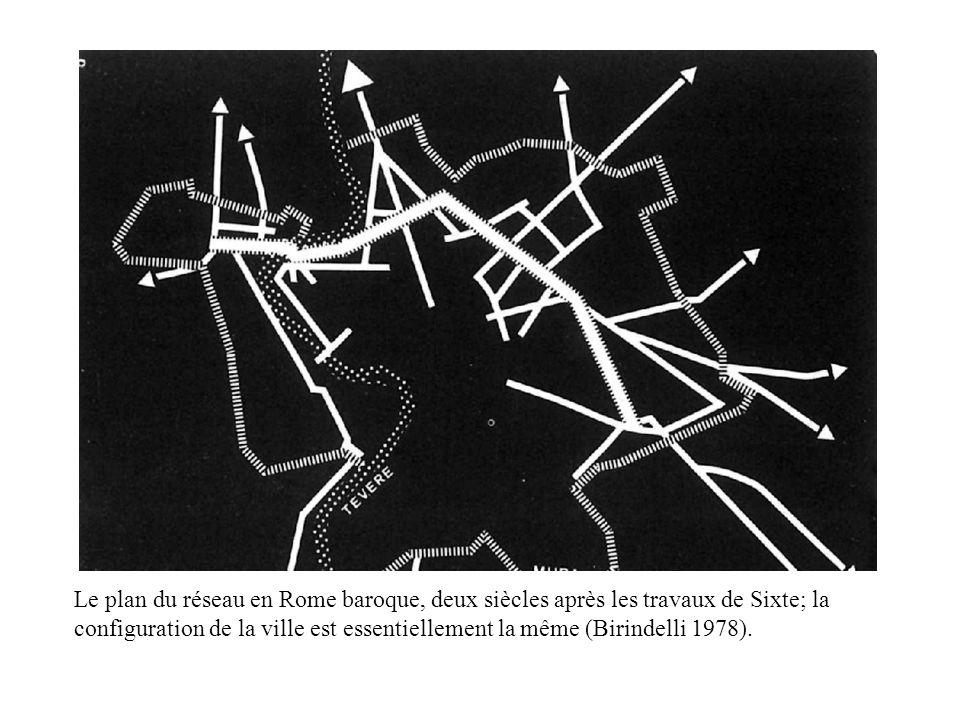 Le plan du réseau en Rome baroque, deux siècles après les travaux de Sixte; la configuration de la ville est essentiellement la même (Birindelli 1978)