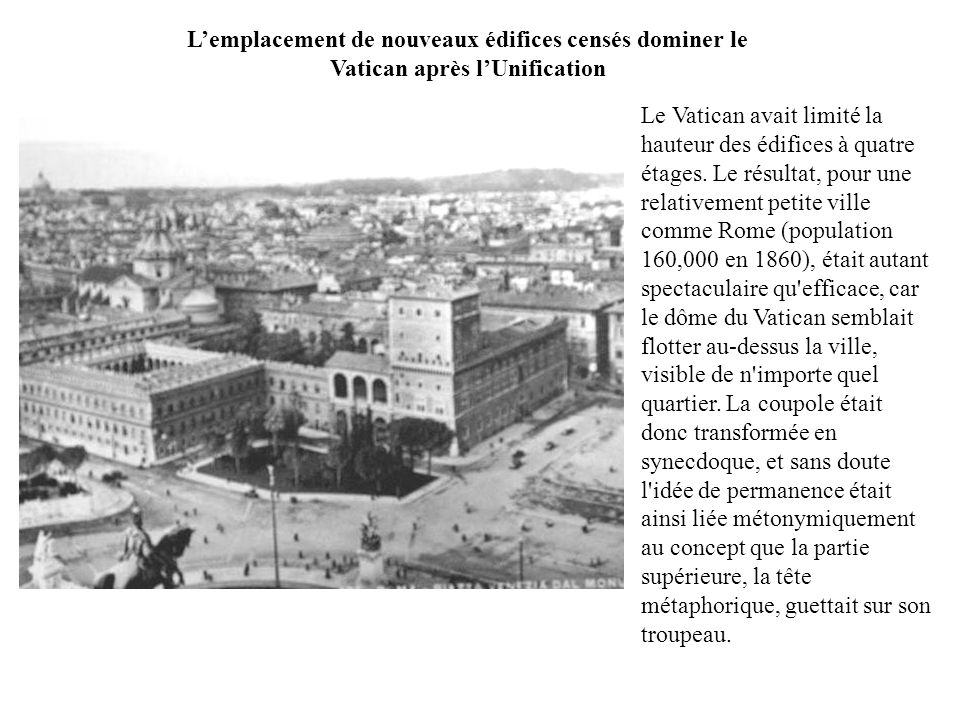 Lemplacement de nouveaux édifices censés dominer le Vatican après lUnification Le Vatican avait limité la hauteur des édifices à quatre étages. Le rés