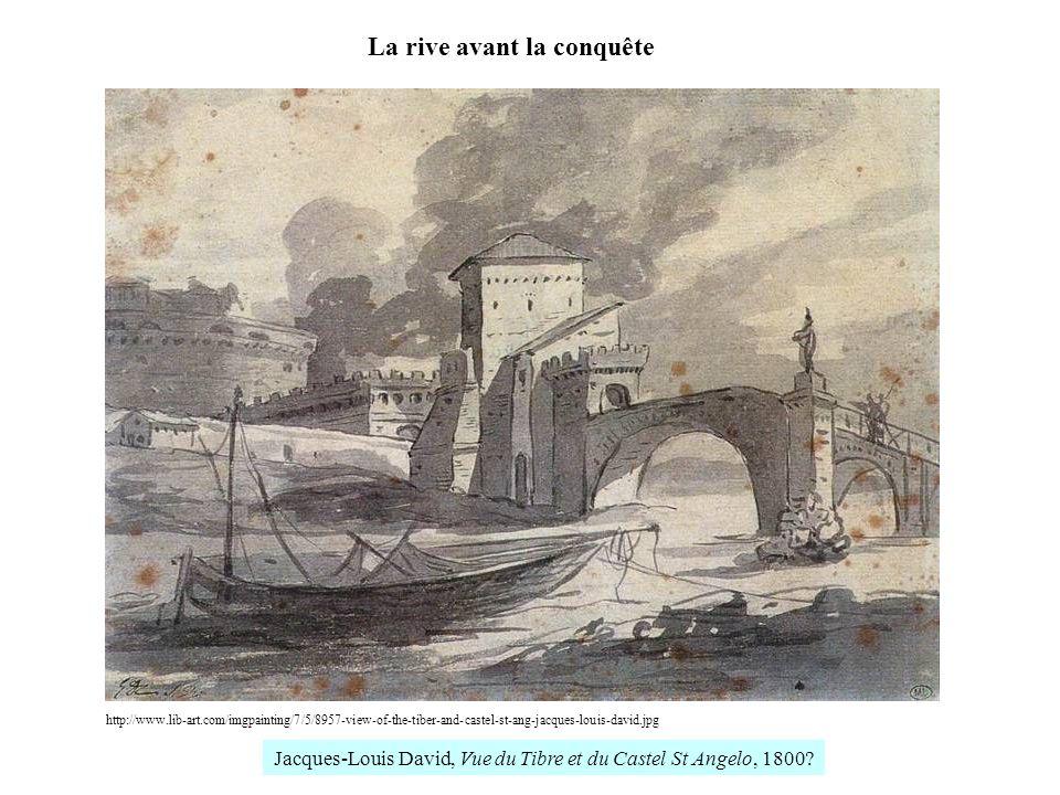 http://www.lib-art.com/imgpainting/7/5/8957-view-of-the-tiber-and-castel-st-ang-jacques-louis-david.jpg La rive avant la conquête Jacques-Louis David, Vue du Tibre et du Castel St Angelo, 1800?