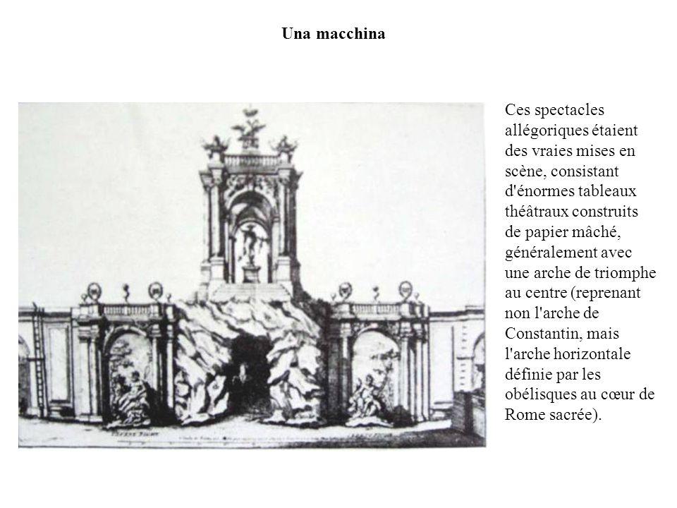 Una macchina Ces spectacles allégoriques étaient des vraies mises en scène, consistant d'énormes tableaux théâtraux construits de papier mâché, généra