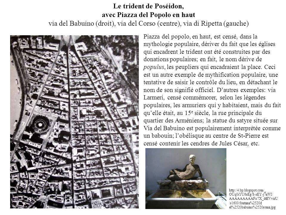 Le trident de Poséidon, avec Piazza del Popolo en haut via del Babuino (droit), via del Corso (centre), via di Ripetta (gauche) Piazza del popolo, en