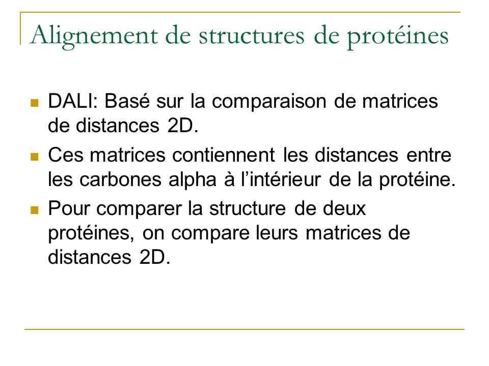 Alignement de structures de protéines DALI: Basé sur la comparaison de matrices de distances 2D. Ces matrices contiennent les distances entre les carb