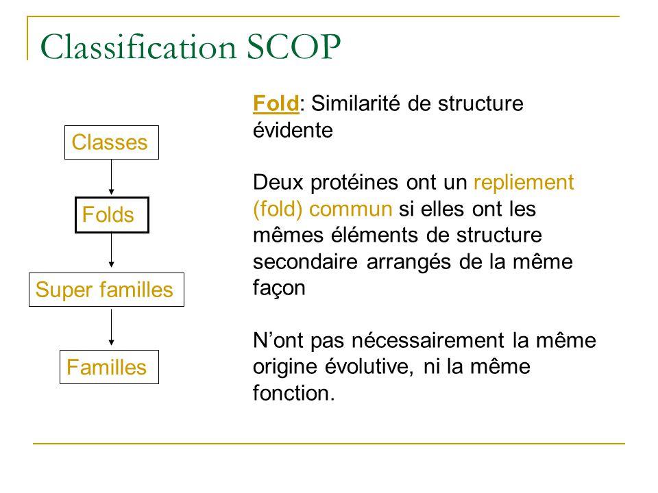 Classification SCOP Fold: Similarité de structure évidente Deux protéines ont un repliement (fold) commun si elles ont les mêmes éléments de structure secondaire arrangés de la même façon Nont pas nécessairement la même origine évolutive, ni la même fonction.