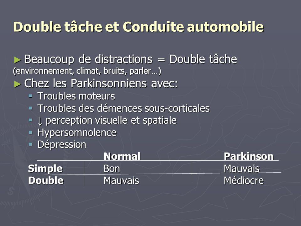 Double tâche et Conduite automobile Beaucoup de distractions = Double tâche Beaucoup de distractions = Double tâche (environnement, climat, bruits, pa