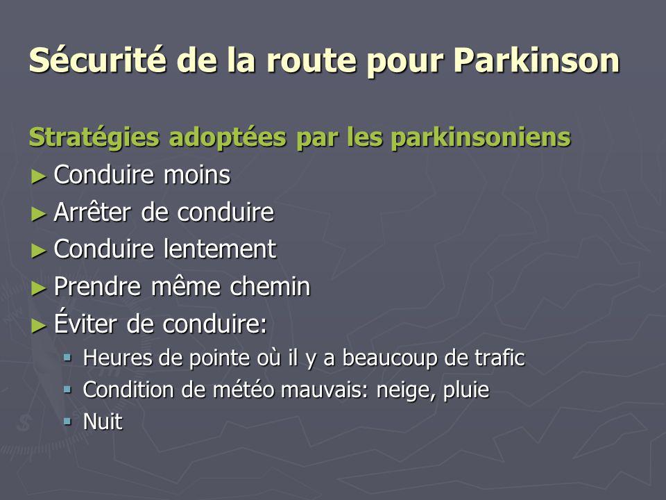 Sécurité de la route pour Parkinson Stratégies adoptées par les parkinsoniens Conduire moins Conduire moins Arrêter de conduire Arrêter de conduire Co