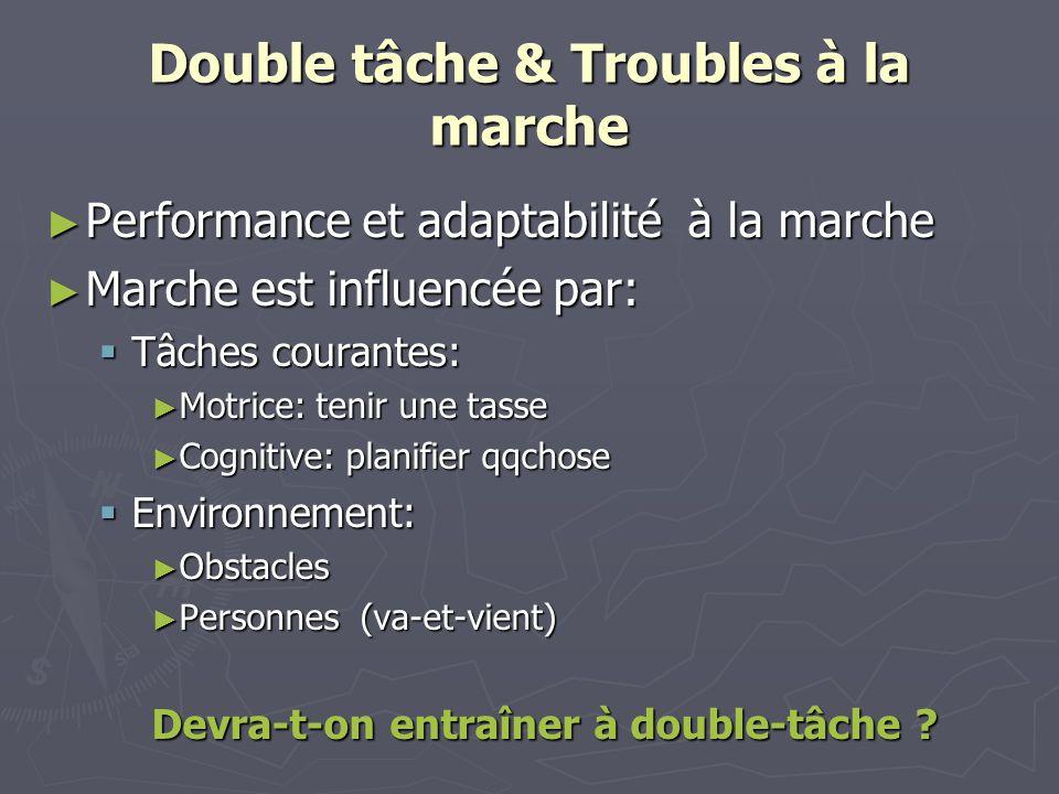 Double tâche & Troubles à la marche Performance et adaptabilité à la marche Performance et adaptabilité à la marche Marche est influencée par: Marche