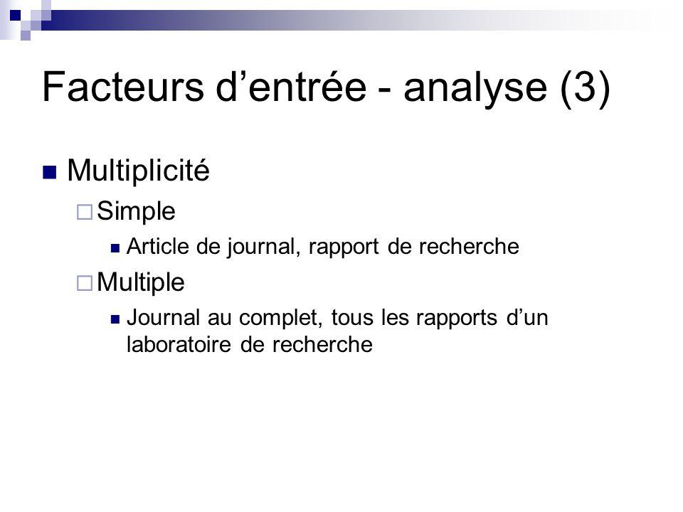 Facteurs dentrée - analyse (3) Multiplicité Simple Article de journal, rapport de recherche Multiple Journal au complet, tous les rapports dun laborat