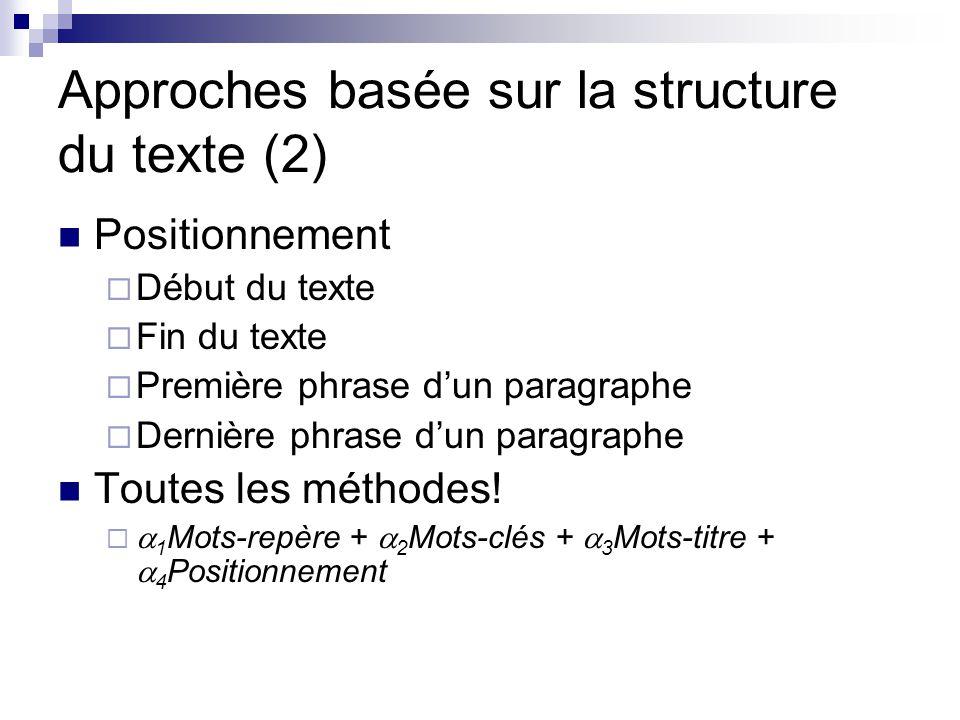 Approches basée sur la structure du texte (2) Positionnement Début du texte Fin du texte Première phrase dun paragraphe Dernière phrase dun paragraphe