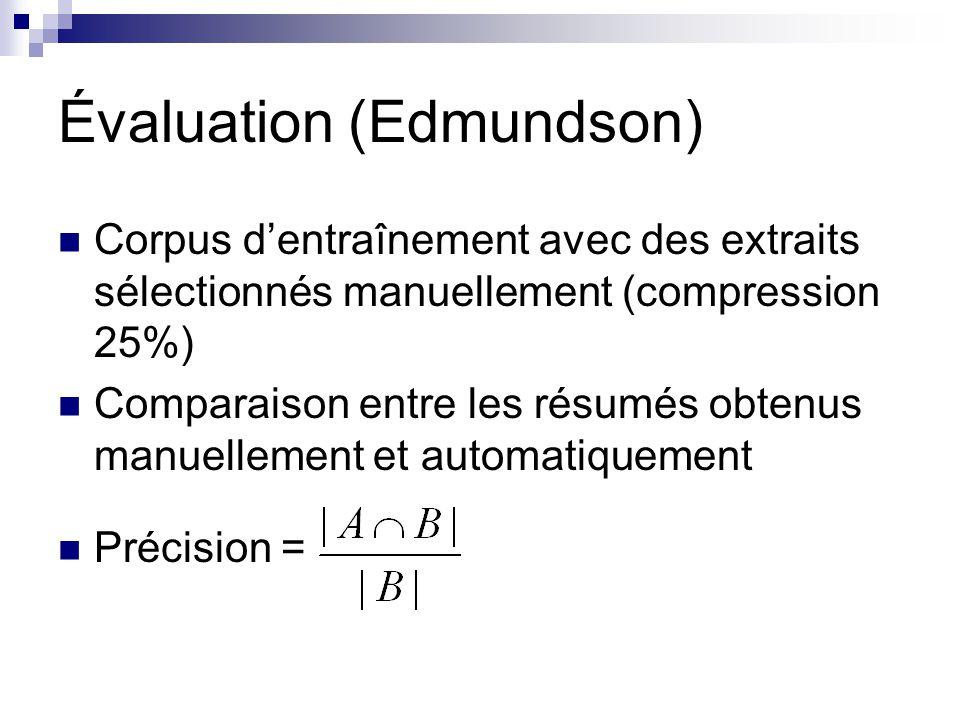 Évaluation (Edmundson) Corpus dentraînement avec des extraits sélectionnés manuellement (compression 25%) Comparaison entre les résumés obtenus manuel