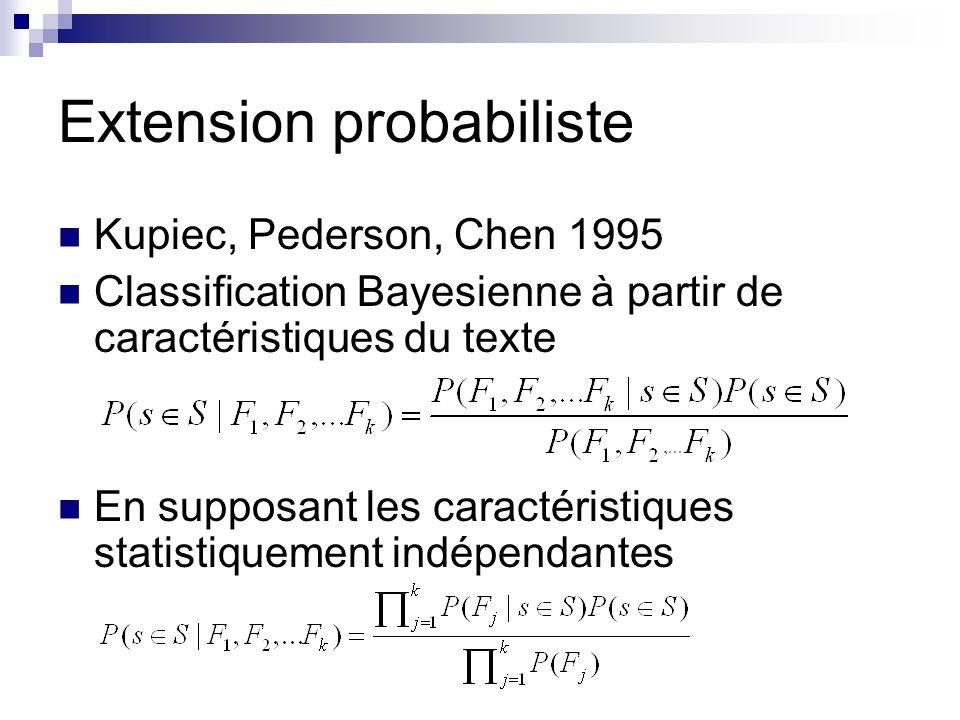 Extension probabiliste Kupiec, Pederson, Chen 1995 Classification Bayesienne à partir de caractéristiques du texte En supposant les caractéristiques s
