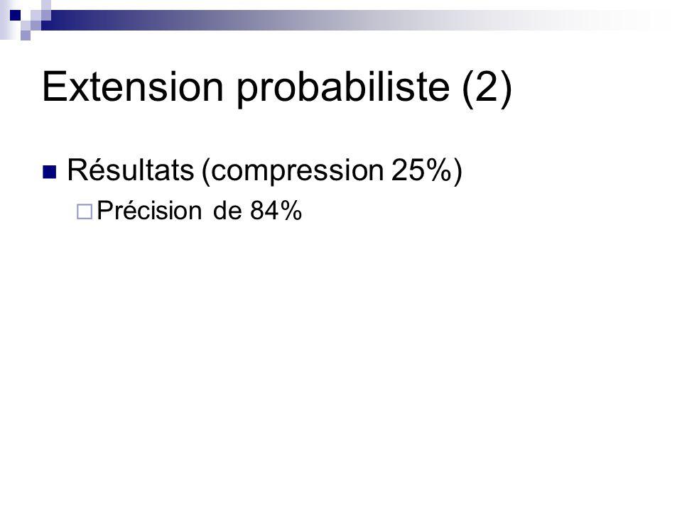 Extension probabiliste (2) Résultats (compression 25%) Précision de 84%