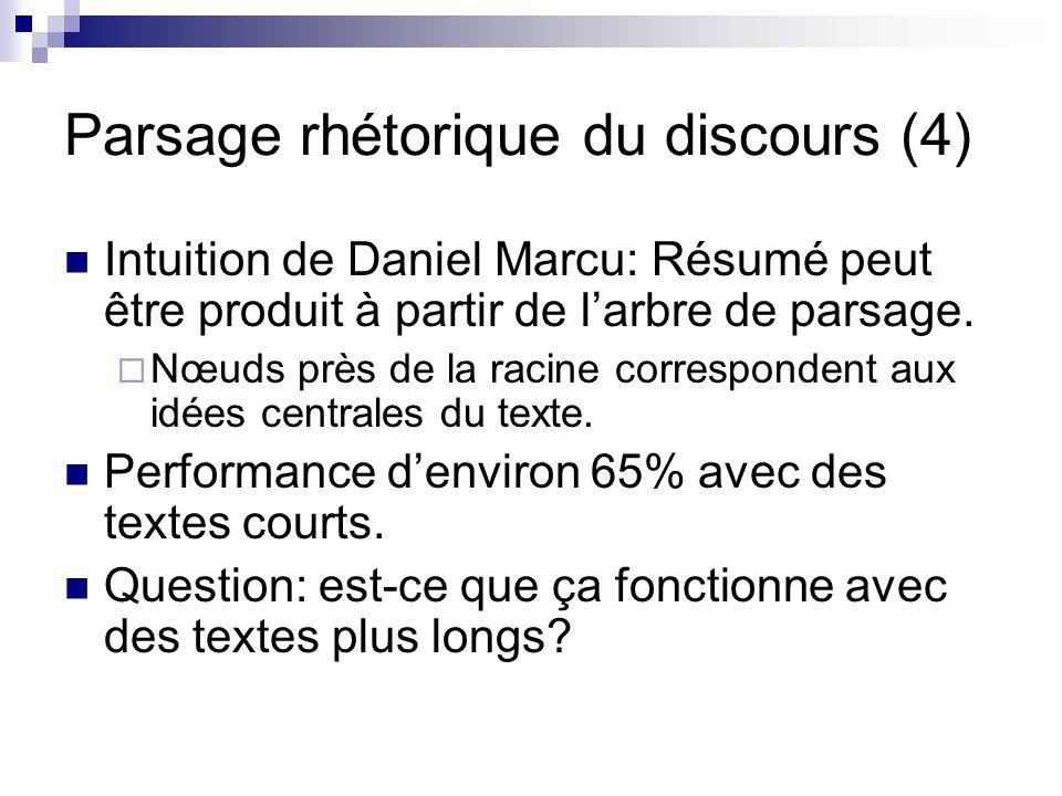 Parsage rhétorique du discours (4) Intuition de Daniel Marcu: Résumé peut être produit à partir de larbre de parsage. Nœuds près de la racine correspo