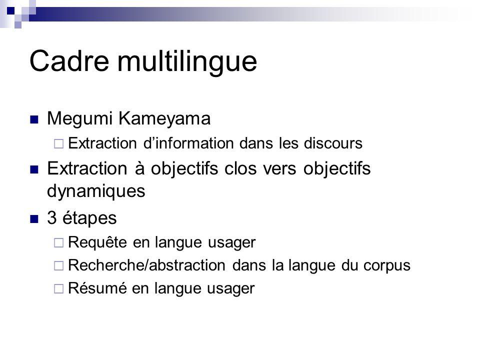 Cadre multilingue Megumi Kameyama Extraction dinformation dans les discours Extraction à objectifs clos vers objectifs dynamiques 3 étapes Requête en