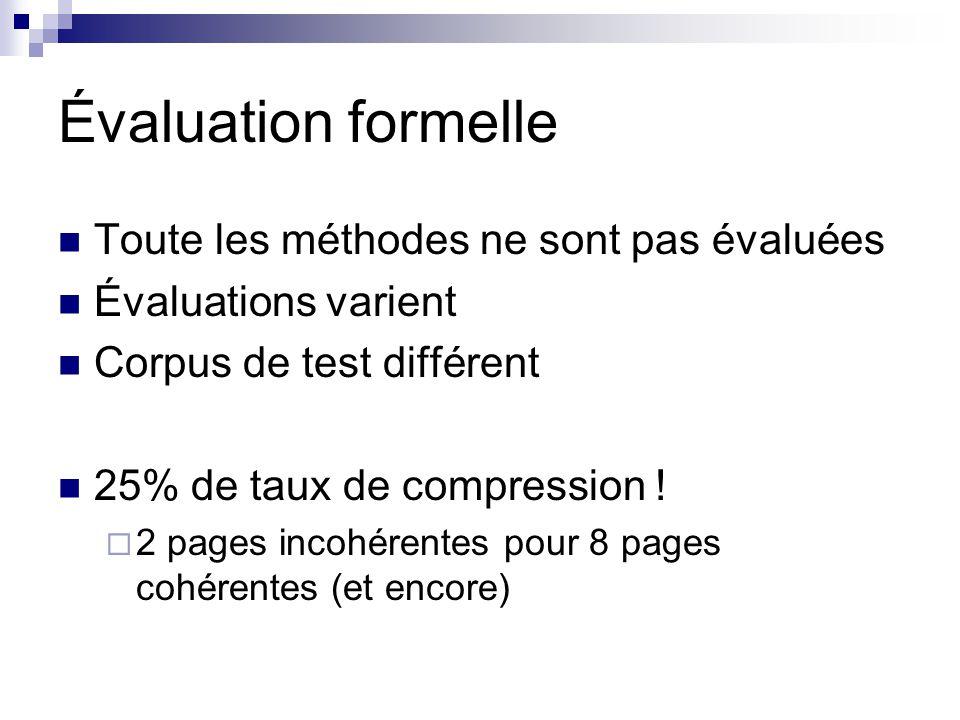 Évaluation formelle Toute les méthodes ne sont pas évaluées Évaluations varient Corpus de test différent 25% de taux de compression ! 2 pages incohére