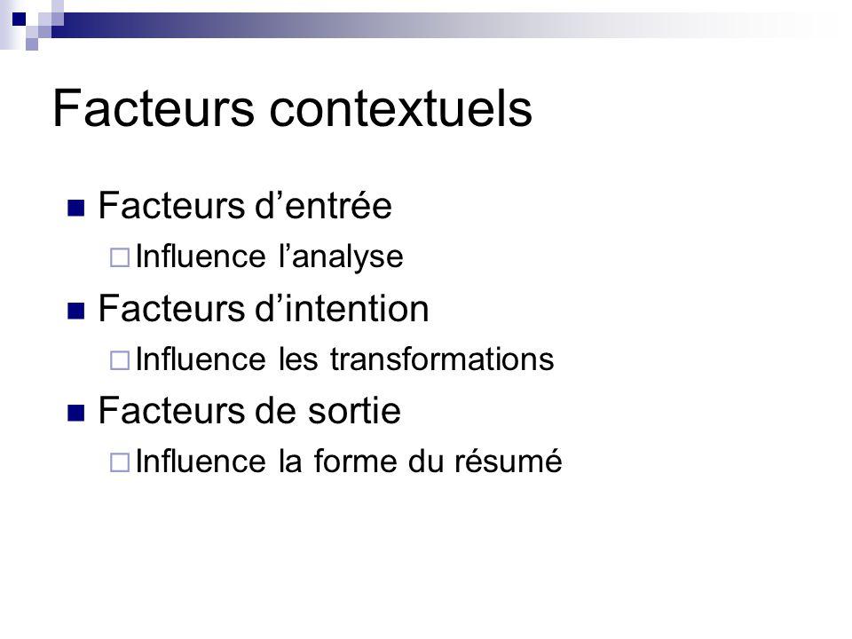 Facteurs contextuels Facteurs dentrée Influence lanalyse Facteurs dintention Influence les transformations Facteurs de sortie Influence la forme du ré