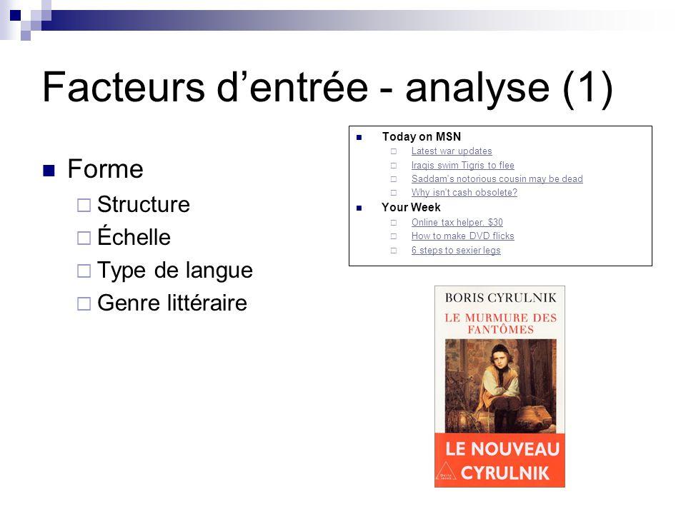 Facteurs dentrée - analyse (1) Forme Structure Échelle Type de langue Genre littéraire Today on MSN Latest war updates Iraqis swim Tigris to flee Sadd