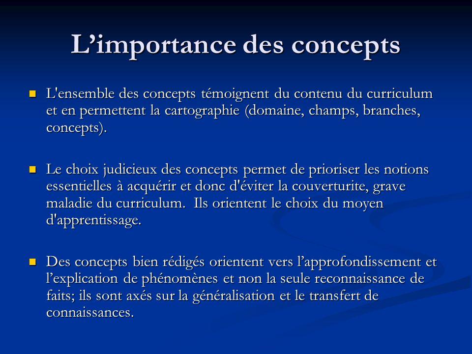 Limportance des concepts L ensemble des concepts témoignent du contenu du curriculum et en permettent la cartographie (domaine, champs, branches, concepts).