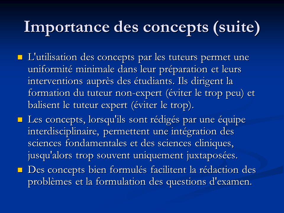 Importance des concepts (suite) L utilisation des concepts par les tuteurs permet une uniformité minimale dans leur préparation et leurs interventions auprès des étudiants.