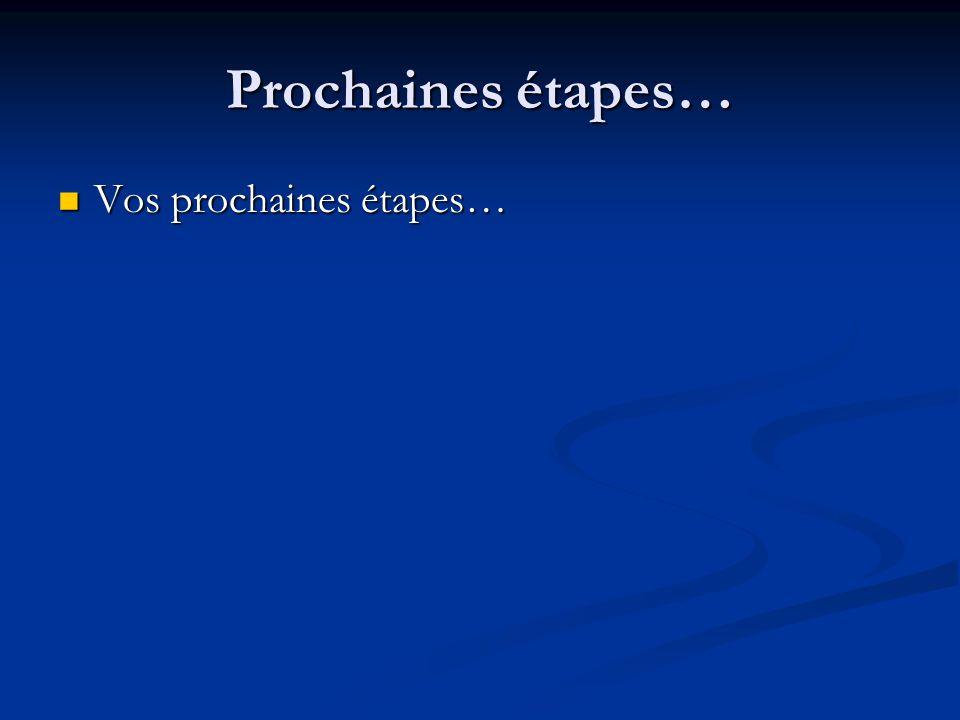 Prochaines étapes… Vos prochaines étapes… Vos prochaines étapes…