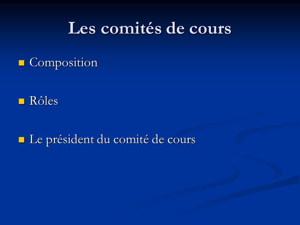 Les comités de cours Composition Composition Rôles Rôles Le président du comité de cours Le président du comité de cours