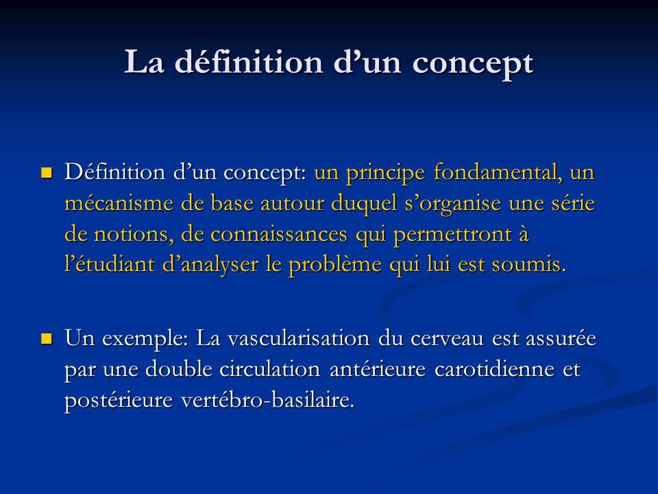 La définition dun concept Définition dun concept: un principe fondamental, un mécanisme de base autour duquel sorganise une série de notions, de connaissances qui permettront à létudiant danalyser le problème qui lui est soumis.