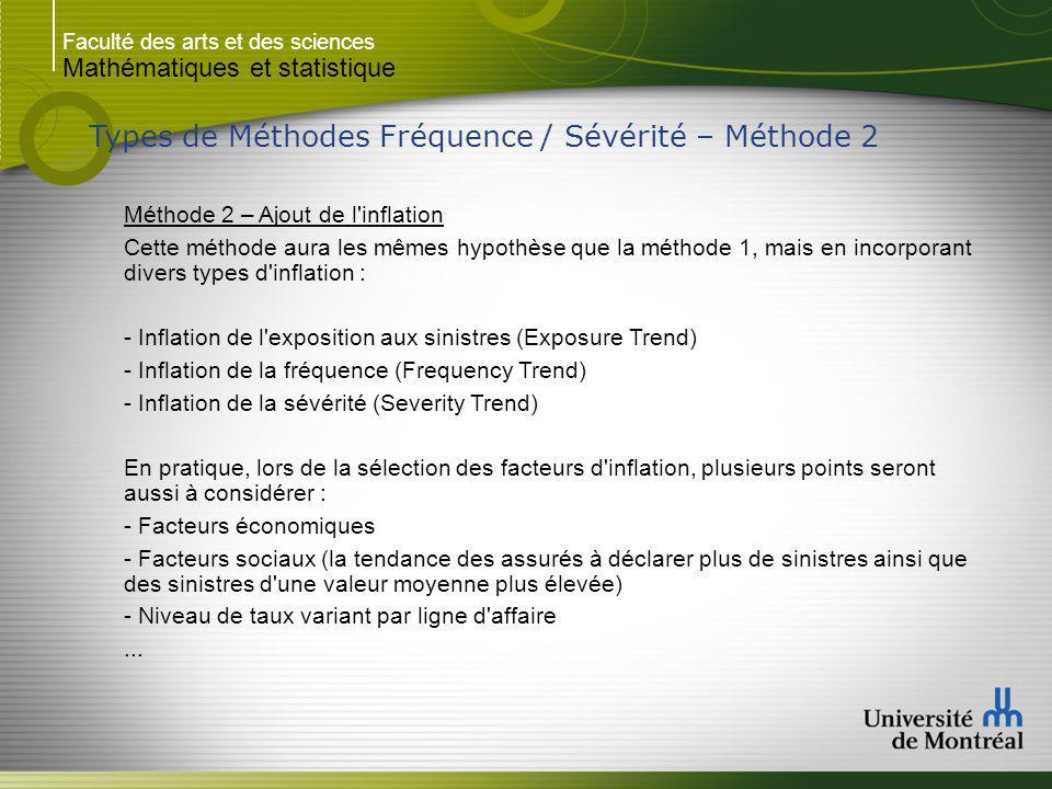 Faculté des arts et des sciences Mathématiques et statistique Types de Méthodes Fréquence / Sévérité – Méthode 2 Méthode 2 – Ajout de l'inflation Cett