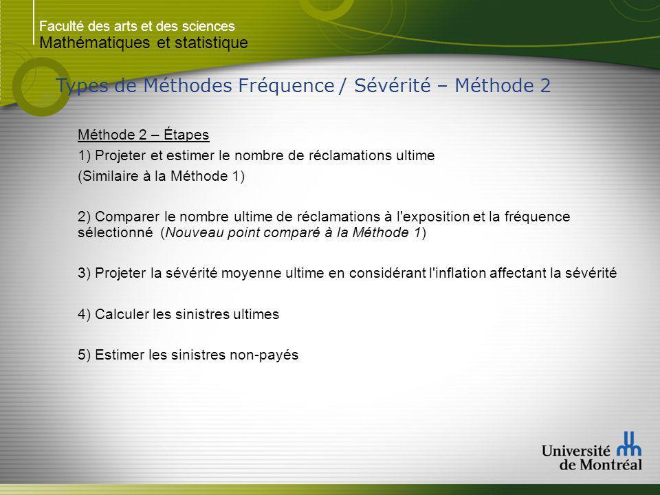 Faculté des arts et des sciences Mathématiques et statistique Types de Méthodes Fréquence / Sévérité – Méthode 2 Méthode 2 – Étapes 1) Projeter et est