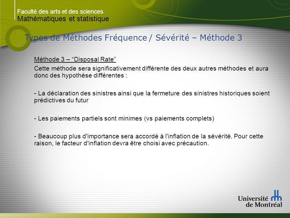 Faculté des arts et des sciences Mathématiques et statistique Types de Méthodes Fréquence / Sévérité – Méthode 3 Méthode 3 – Disposal Rate Cette métho
