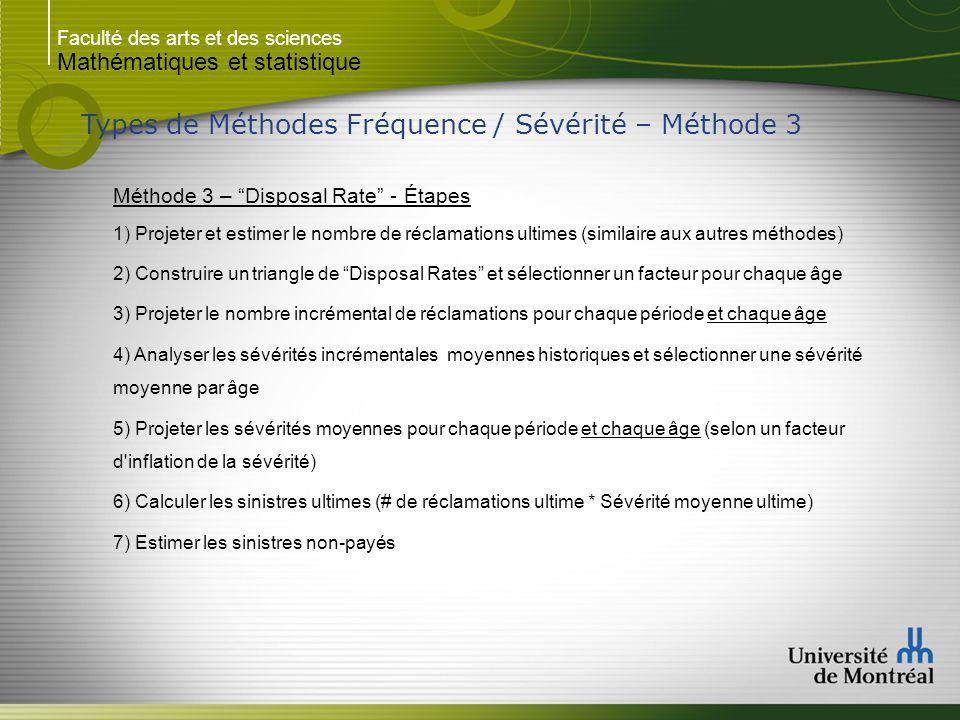 Faculté des arts et des sciences Mathématiques et statistique Types de Méthodes Fréquence / Sévérité – Méthode 3 Méthode 3 – Disposal Rate - Étapes 1)