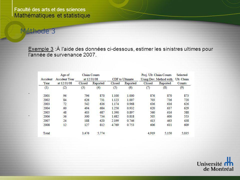 Faculté des arts et des sciences Mathématiques et statistique Méthode 3 Exemple 3 :À l aide des données ci-dessous, estimer les sinistres ultimes pour l année de survenance 2007...