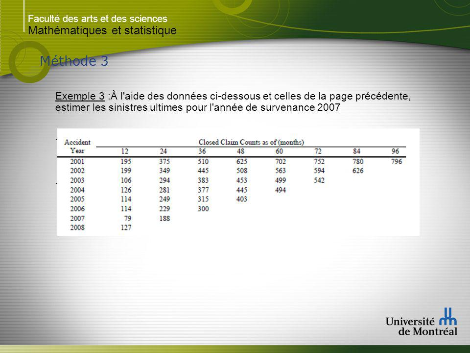 Faculté des arts et des sciences Mathématiques et statistique Méthode 3 Exemple 3 :À l aide des données ci-dessous et celles de la page précédente, estimer les sinistres ultimes pour l année de survenance 2007..