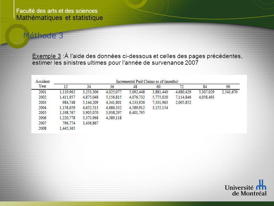 Faculté des arts et des sciences Mathématiques et statistique Méthode 3 Exemple 3 :À l aide des données ci-dessous et celles des pages précédentes, estimer les sinistres ultimes pour l année de survenance 2007..