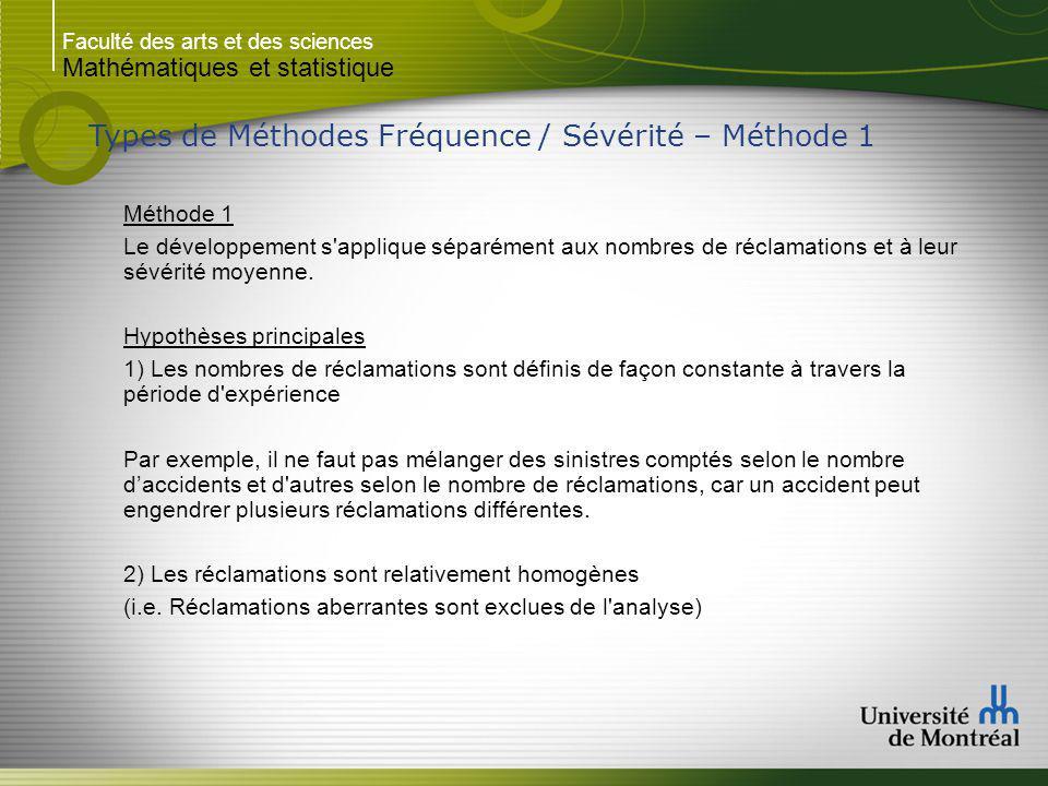 Faculté des arts et des sciences Mathématiques et statistique Types de Méthodes Fréquence / Sévérité – Méthode 1 Méthode 1 Le développement s applique séparément aux nombres de réclamations et à leur sévérité moyenne.
