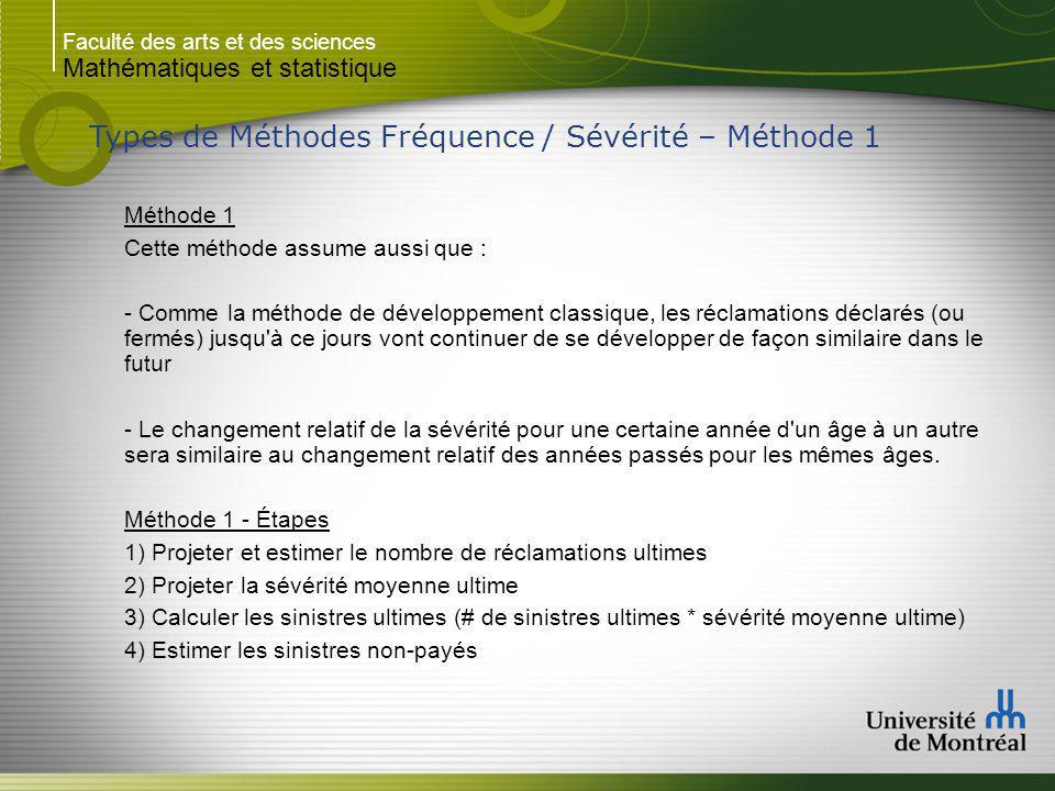 Faculté des arts et des sciences Mathématiques et statistique Types de Méthodes Fréquence / Sévérité – Méthode 1 Méthode 1 Cette méthode assume aussi
