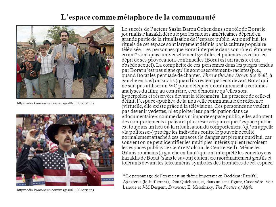 Lespace comme métaphore de la communauté Le succès de lacteur Sasha Baron Cohen dans son rôle de Borat le journaliste kazakh dérouté par les mœurs américaines dépend en grande partie de la ritualisation de lespace public.