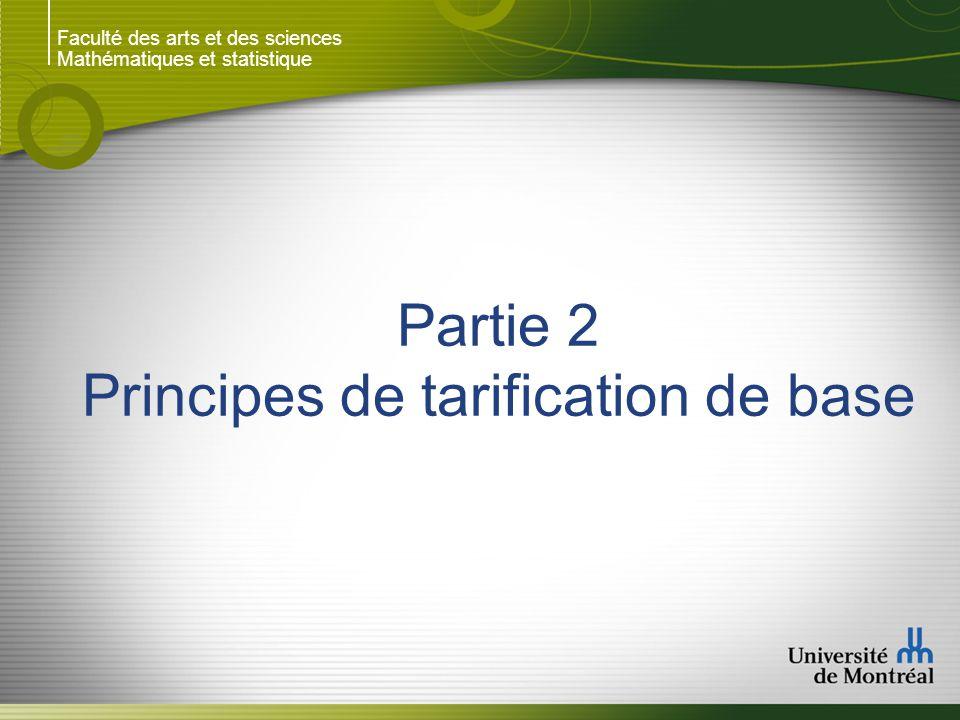 Faculté des arts et des sciences Mathématiques et statistique Partie 2 Principes de tarification de base