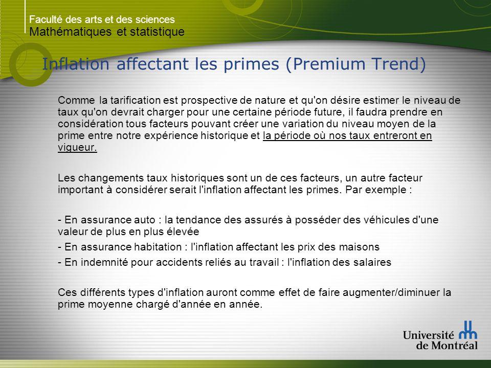 Faculté des arts et des sciences Mathématiques et statistique Inflation affectant les primes (Premium Trend) Comme la tarification est prospective de